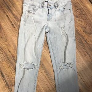 AEO light wash distressed jeans